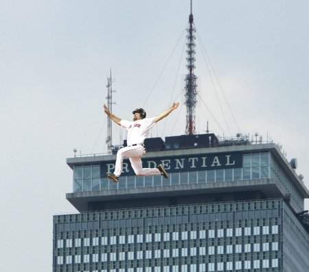 Youk jumping from the Pru
