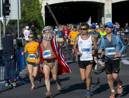Moses splits the runners at the 2014 Jerusalem Marathon